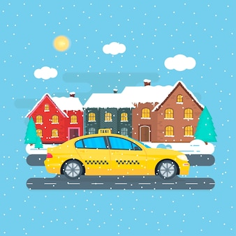 Poster with the machine yellow cab in the city. public taxi service concept. cityscape on the winter season. flat vector illustration.