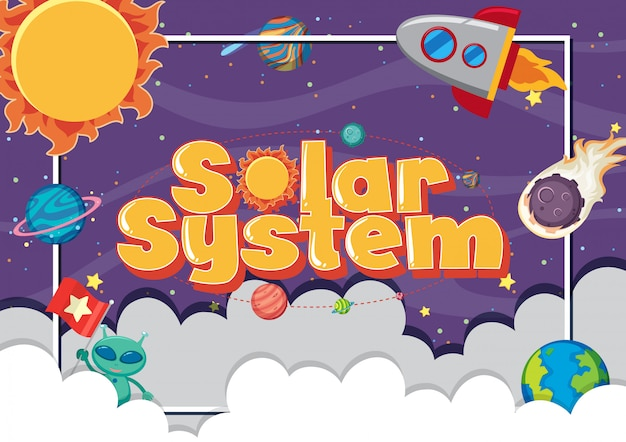 Poster with many planets in the solar system