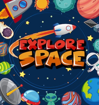 Poster with many planets and spaceship