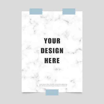 Poster with marble pattern and scotch tape