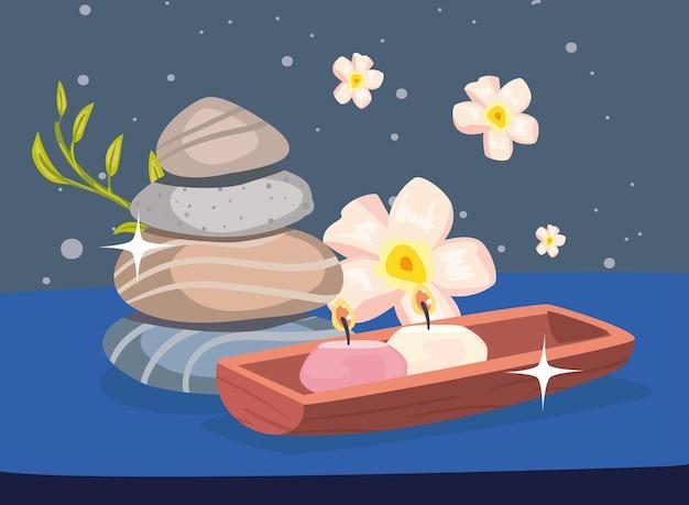 石とキャンドルのマッサージのポスター