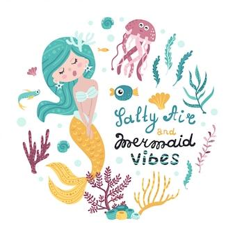 人魚、海の動物、レタリングのポスター