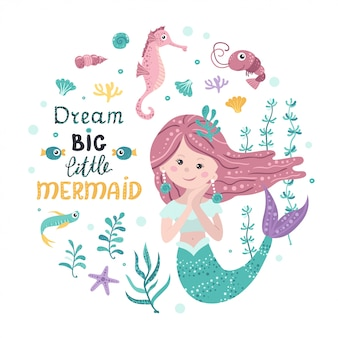 Poster with mermaid, sea animals and lettering