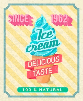 Poster with mint cold delicious ice-cream pink tape with text