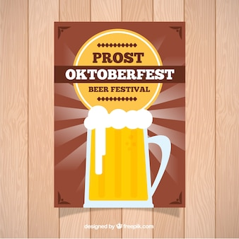 Poster with mug of beer in flat style