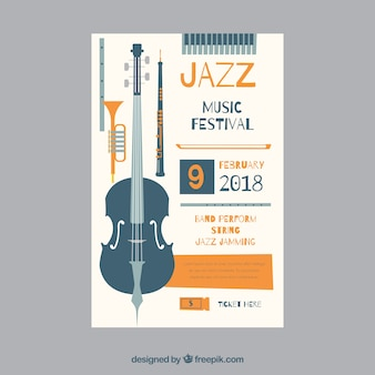 Poster with musical instruments for a jazz festival