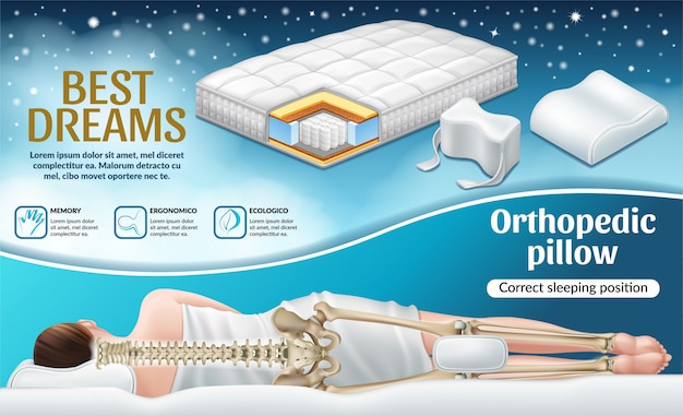 Poster with orthopedic mattress and pillow.