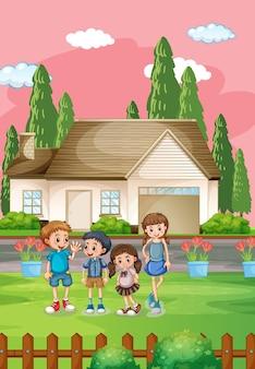 많은 아이들과 함께 야외 집 장면 포스터