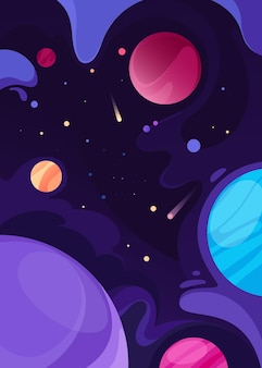 Poster with outer space. placard design in abstract style.