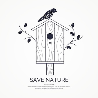 Poster with a picture of the birdhouse. vector illustration in flat style.