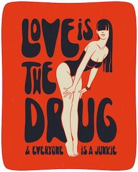 Плакат с красивой женщиной и текстовой цитатой