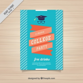 Poster with a ribbon for college party