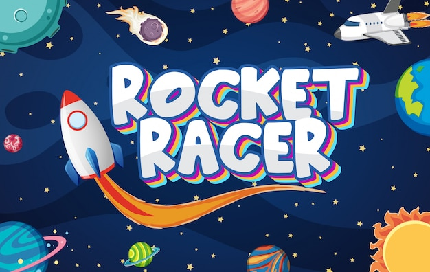 Poster with rocket racer in dark space