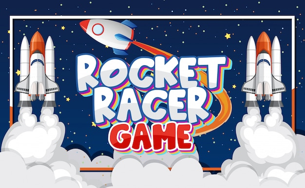 Poster with rocket racer game in space