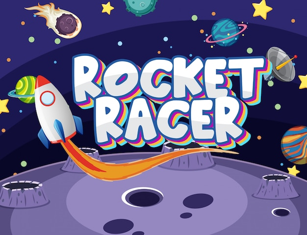 Poster with rocket racer and many planets