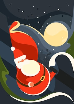 Poster with santa claus on the background of moon. christmas placard design in flat style.
