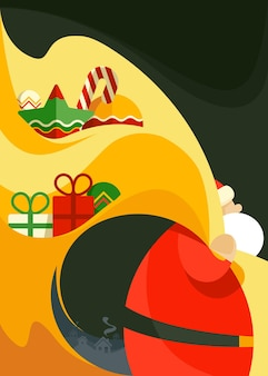 Poster with santa claus holding bag of toys. placard design in abstract style.