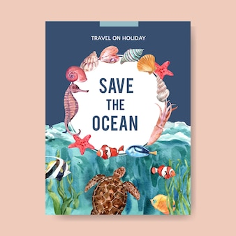 Poster with sealife-theme watercolor, creative colorful illustration template.