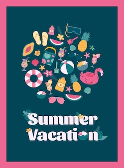 Poster with a set of colorful tropical beach elements for summer vacation