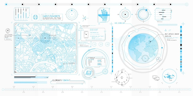 Poster with a set of futuristic hud elements on the theme geo location.