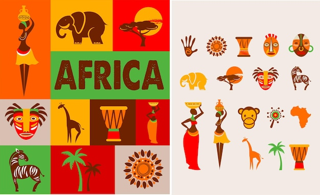 Poster with set of illustrations of africa