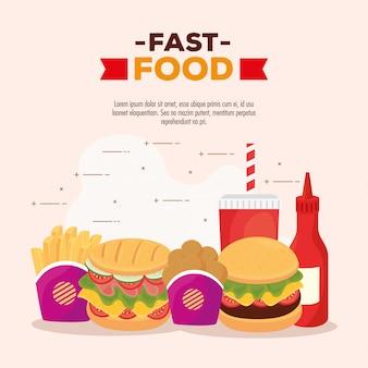 Плакат с набором вкусного, быстрого питания