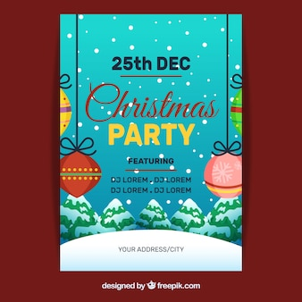 Плакат со снежными и рождественскими шарами
