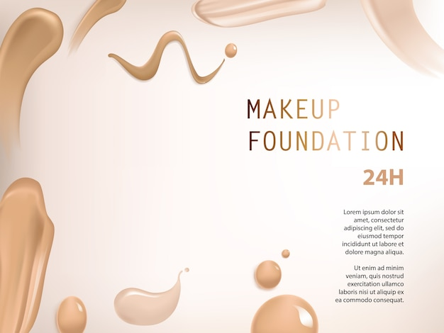 Poster with texture of smears of liquid foundation