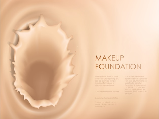 Poster with texture of splash of liquid foundation