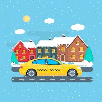 市内の機械黄色いタクシーのポスター。公共タクシーサービスのコンセプト。冬の街並み。フラットベクトルイラスト。