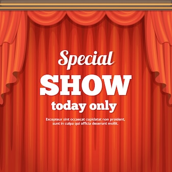 Poster with theater stage and red curtain. cartoon style illustration