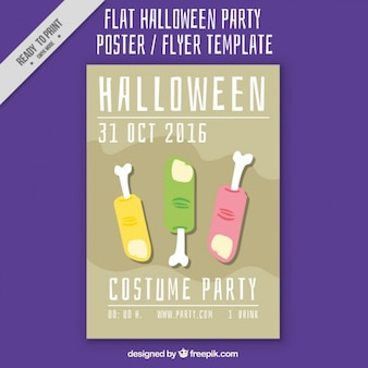 Poster with three fingers for halloween