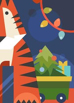 호랑이, 크리스마스 트리, 화환이 있는 포스터입니다. 평면 스타일의 휴일 엽서 디자인.