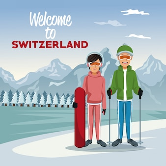 Poster with tourist couple skiers people and text welcome to switzerland
