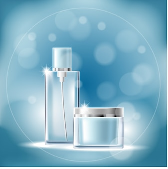 Poster with transparent cosmetic containers on a blue background with bokeh effect