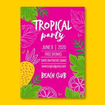 Poster with tropical party theme