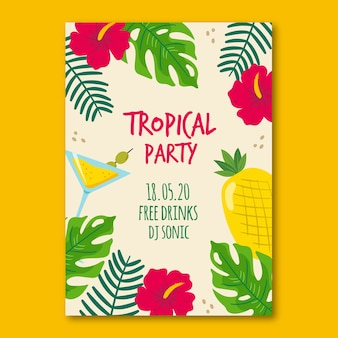 Poster with tropical party