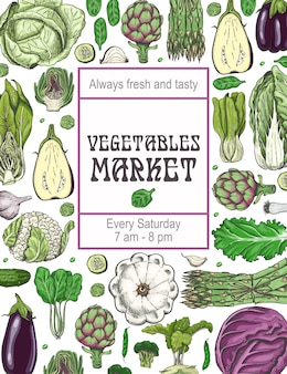 A poster with various vegetables