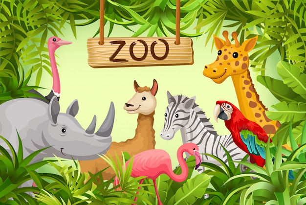 Poster with wild animals of savanna and desert.