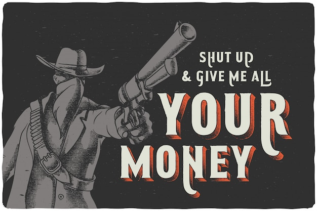 Poster with a wild west man holding a gun