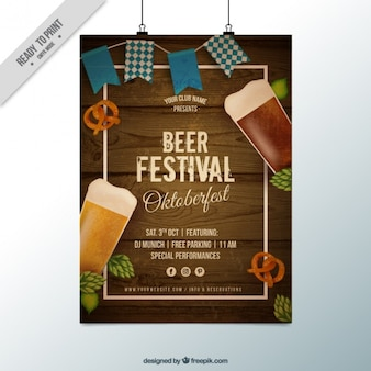 Poster with wood background for oktoberfest