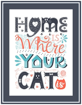 Poster with the words home is where your cat is. hand lettering