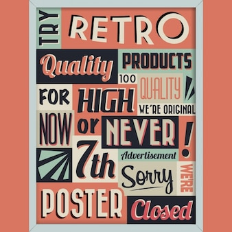 Poster with words in vintage style