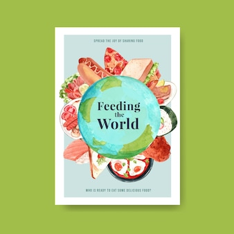 Poster with world food day concept design for advertise and leaflet watercolor