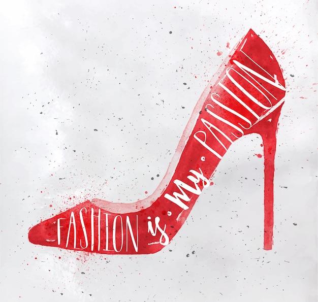 레트로 빈티지 스타일 글자 포스터 여성 신발