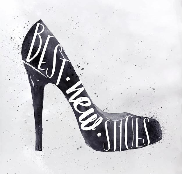 레트로 빈티지 스타일 글자 포스터 여성 힐 신발