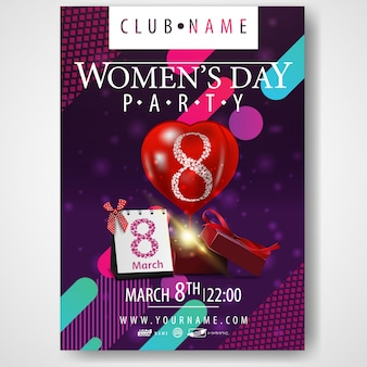 Poster for women's day party with gift and balloon