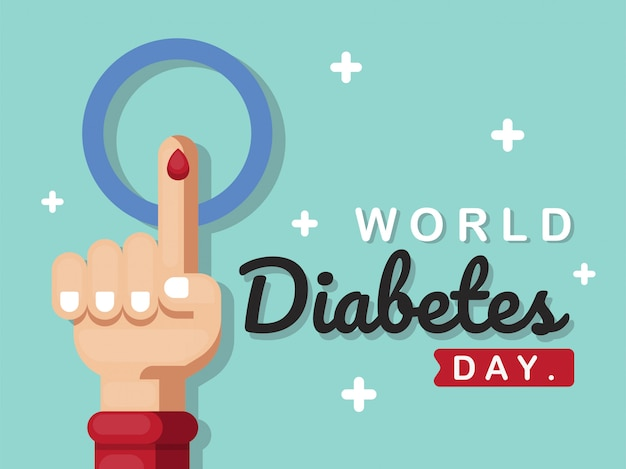 Poster of world diabetes day with hand illustration