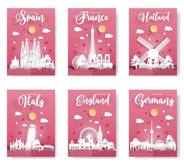 Poster of world famous landmark in europe