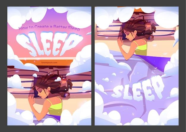침대 평면도에 베개에 누워 포스터 젊은 여자